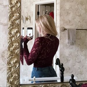 Material Girl Tops - Red Lace Crop